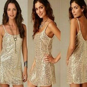 FREE PEOPLE INTIMATELY Gold Sequin Dress Small S/M